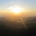 Ondergaande zon achter de Zeeuwse Eilanden.